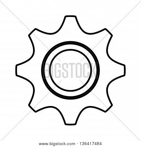 white construction screw front view over isolated background, vector illustration