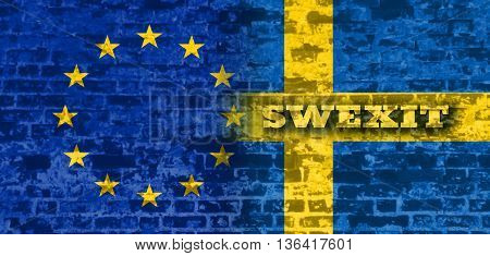 Image relative to politic relationships between European Union and Sweden. National flags textured by brick wall. Swexit text