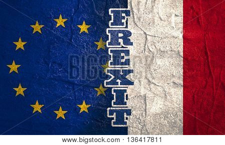 Image relative to politic relationships between European Union and France. National flags textured by concrete. Frexit text