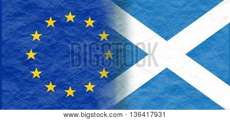 Image relative to politic relationships between European Union and Scotland. National flags textured by crumpled paper