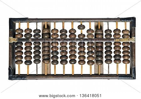 vintage wooden abacus isolated on white background.
