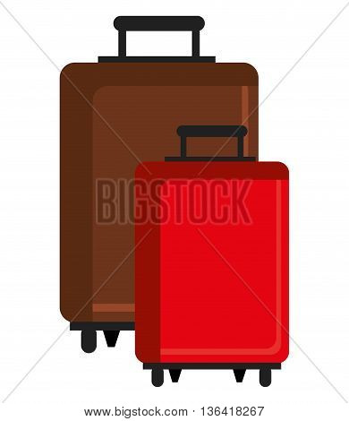 brown and red travle bags front view over isolated background, vector illustration