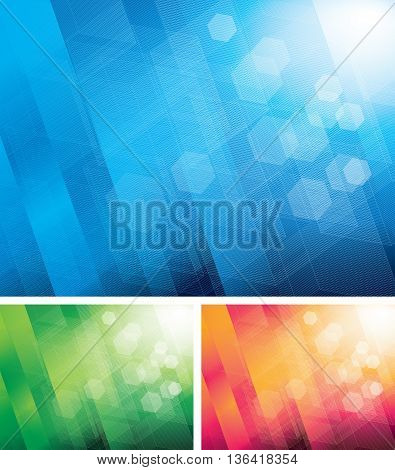 Three color abstract backgrounds. Eps8. CMYK. Organized by layers. Global colors. Gradients used.