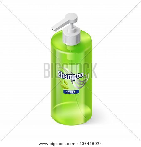 Single Green Bottle of Shampoo with Lable in Isometric Style