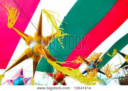 Mexican Pinata In Mexico Flag Background