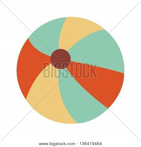 orange and blue beach ball over isolated bacjkground, summer concept, vector illustration