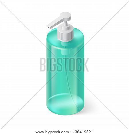 Single Aquamarin Bottle of Shampoo in Isometric Style