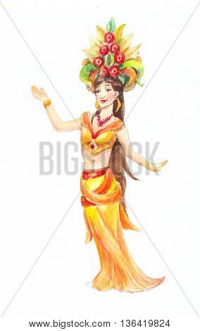 Woman dances typical thai clothes in watercolor. Illustration isolated on white background