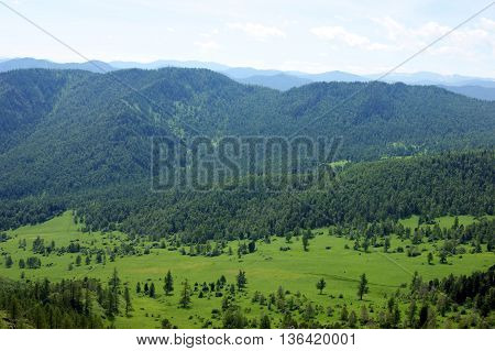 Colorful landscape of the mountains and glade by summer