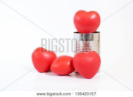 Many Hearts In Tin Can On White Background,leave Space For Adding Your Content