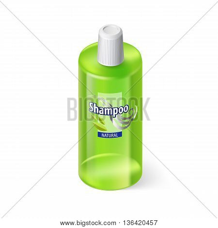 Single Green Bottle of Shampoo with Lable on White