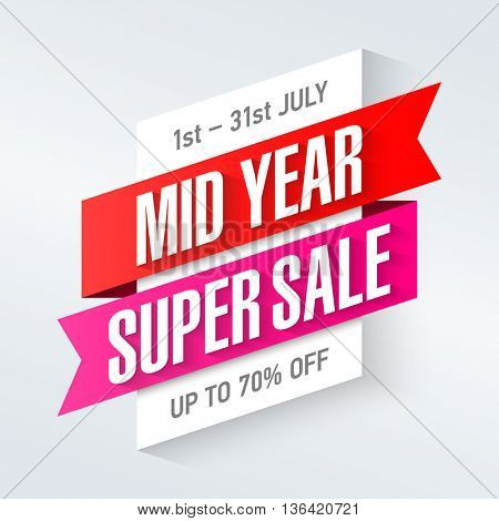 Mid Year Super Sale special offer poster, banner background.