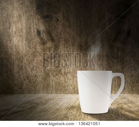Lighting From Window With Hot White Coffee Cup In Hardwood Room With Blur Wood Wall,template Adding