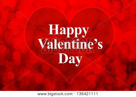 Happy Valentines Day Word And Heart Shape On Red Bokeh Light Background