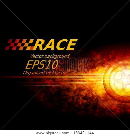 Black vector background with wheel and flame. Eps10. Transparency used. RGB. Organized by layers. Global colors. Gradients used.