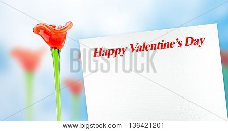 Many Red Flower With Happy Valentines Day Word On White Paper With Blur Blue Abstract Background,lov