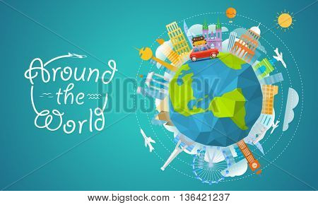 Vacation travelling concept. Vector travel illustration with the bag. Around the world
