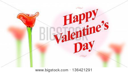 Many Red Flower With Happy Valentines Day Word On Blur Heart Shape On White Background