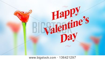 Happy Valentines Day Word With Red Glass Flower Fields On Blur Abstract Blue Background, Love Concep