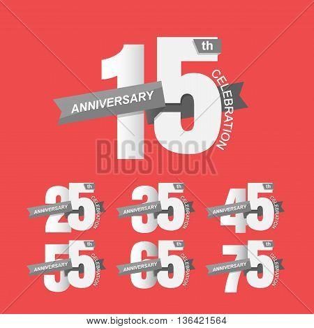 Set of anniversary signs, Anniversary Celebration. Vector