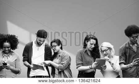 People Friendship Team Digital Devices Connection Technology Concept