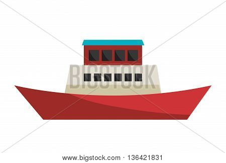 red white and blue cargo ship side view over isolated background, vector illustration