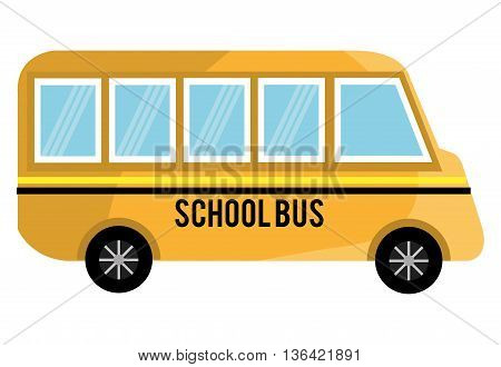 yellow school bus with yellow and black stripes side view over isolated background, vector illustration