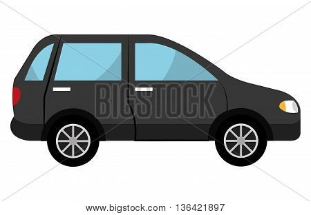 black SUV car side view over isolated background, vector illustration