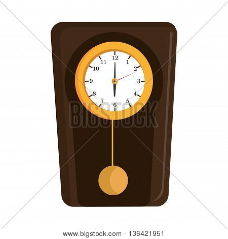 yellow and brown old clock front view over isolated background, vector illustration