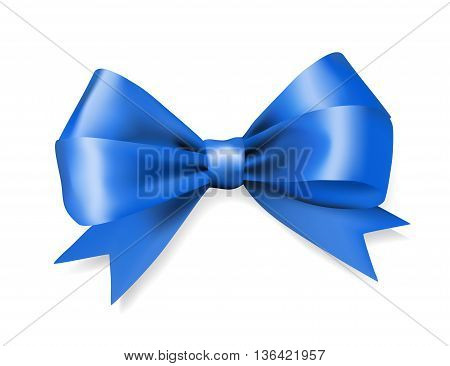 blue silky bow ribbon on white background. holidays gift symbol decorative design element. vector