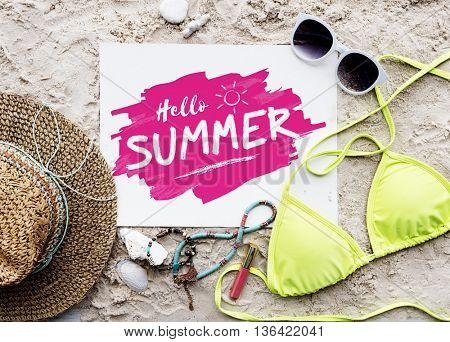 Summer Beach Hat Words Sunglasses Concept