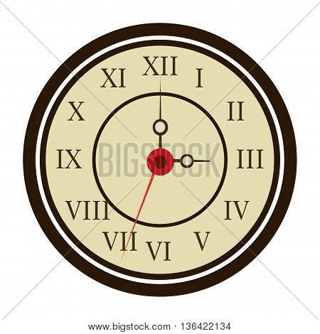 white black and yellow old clock front view over isolated background, vector illustration
