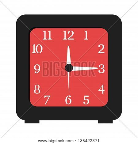 black and red table clock front view over isolated background, vector illustration