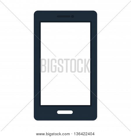 blue and white smartphone device front view over isolated background, vector illustration