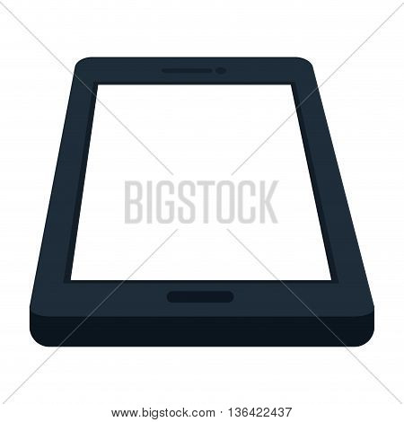black and white smartphone over isolated background, vector illustration