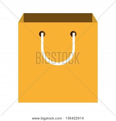yellow shopping bag front view over isolated background, vector illustration