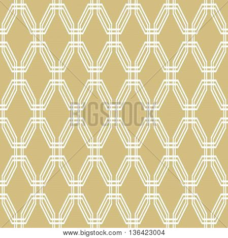 Geometric fine abstract octagonal background. Seamless modern golden and white pattern