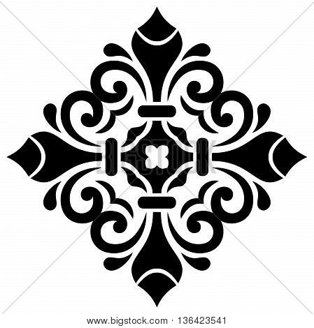Oriental pattern with arabesques and floral elements. Traditional classic square black ornament