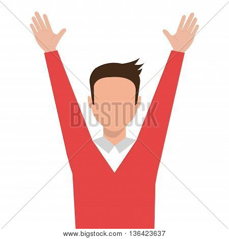 avatar business man wearing colorful clothes and raising arms over isolated background, vector illustration