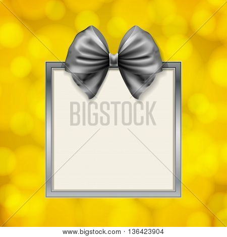 shiny bow and square box frame on blurry golden background. vector illustration