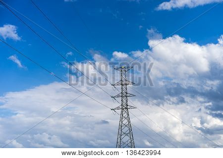 High voltage post with blue sky Electric post