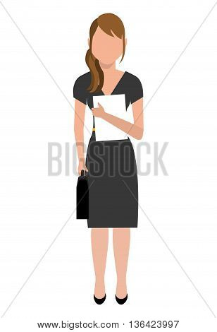 avatar business woman wearing colorful dress front view over isolated background, vector illustration