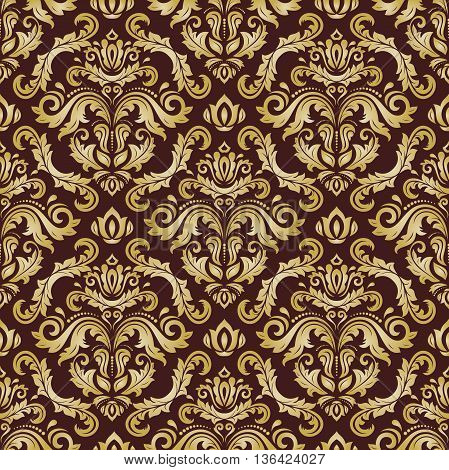 Oriental classic brown and golden ornament. Seamless abstract background
