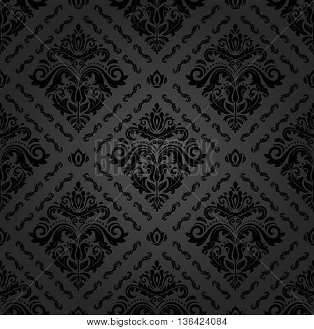Seamless oriental ornament in the style of baroque. Traditional classic dark pattern