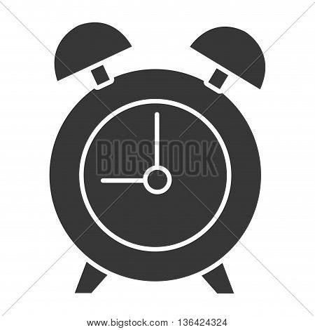 black table clock front view over isolated background, vector illustration