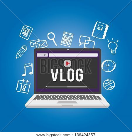 vlog video blogging vector illustration concept design