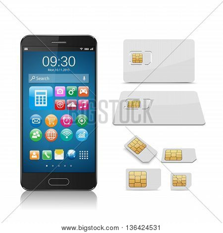 Smartphone with SIM card isolated on white background,vector
