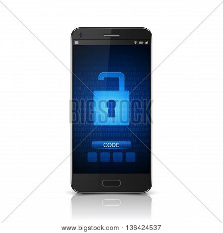 Unlocked Smartphone, Mobile phone unlocked screen, Security concept. vector