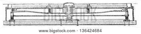 Hub cast iron vertical section, vintage engraved illustration. Magasin Pittoresque 1861.