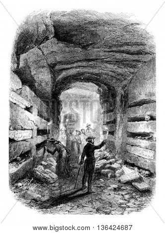 The Catacombs of Rome, vintage engraved illustration. Magasin Pittoresque 1861.